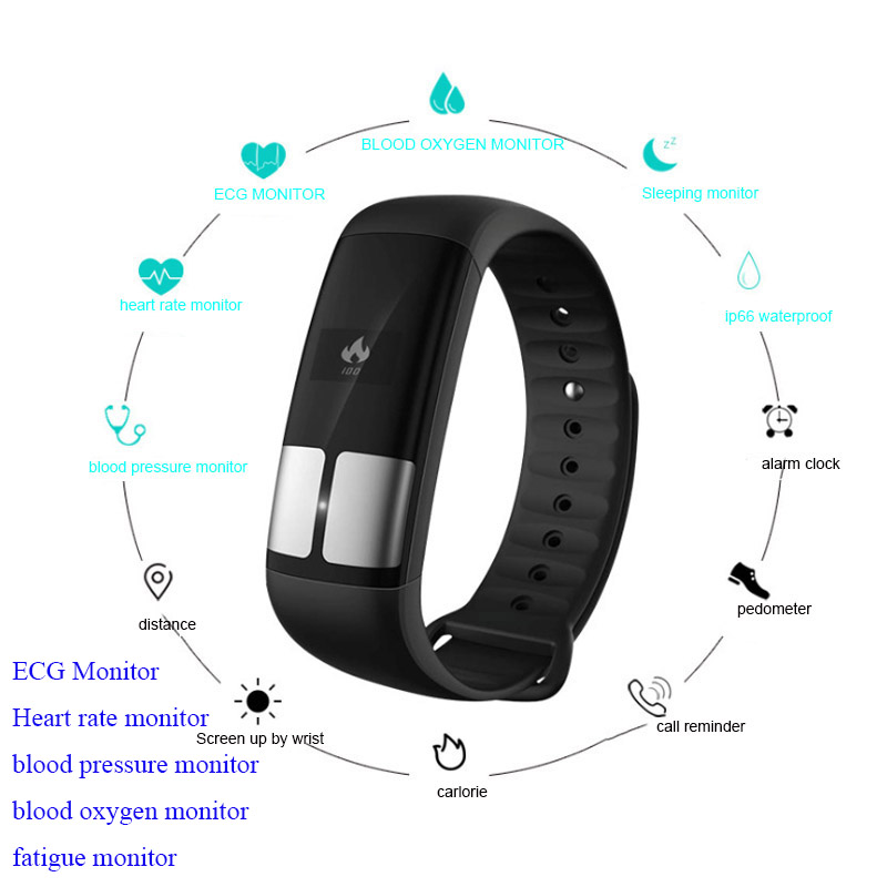 newest ECG PPG Heart Rate Smart Band Blood Pressure blood oxygen fatigue monitor Smartband Fitness Bracelet