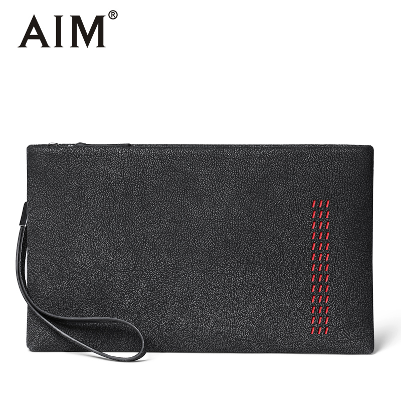 AIM Cow Leather Men Clutch Bags Large Capacity Men Wallets Men&#8217;s Handbag With Long <font><b>Bracelets</b></font> Zipper Male Clutch Purse S020