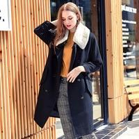 Women Lamb Fur Coat Winter Warm Fashion Loose Long Sheepskin Leather Jacket Natural Real Large Fur