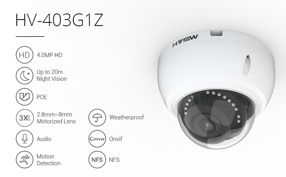 H.VIEW PoE IP Camera 4mp H.265 CCTV Camera PoE Cameras 2.8-8mm Motorized Lens Auto Focus IP67 Onvif NAS IP Cameras