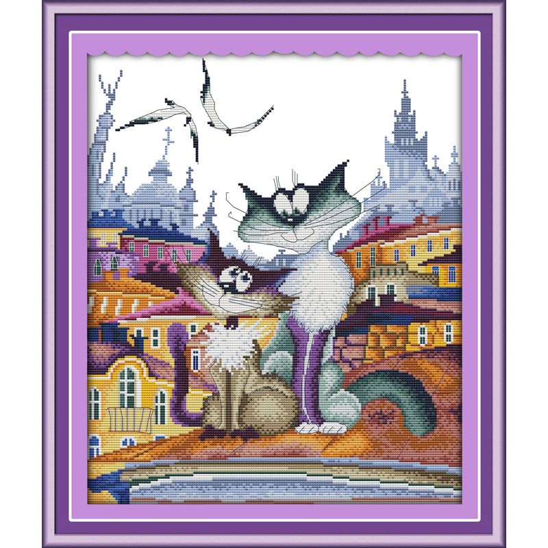 Everlasting love Christmas A gorgeous city cat Ecological cotton Chinese cross stitch kits counted stamped 11CT sales promotion