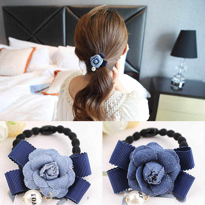 Denim Blue Flower Bowknot Elastic Hair Bands Ponytail Holders Headwear Hair Accessories for Women