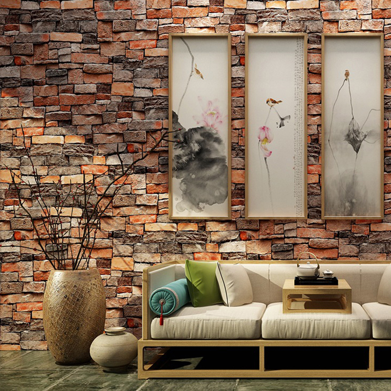 53x100cm 3D Wallpaper Wood Stickers Self Adhesive PVC Stone Wallpapers Brick Wall Paper Stickers Bedroom Decor