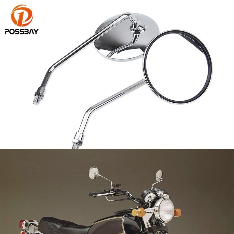 10MM Chrome Motorcycle Handlebar Rearview Side Mirrors For Honda Kawasaki Suzuki Cruiser Scooter