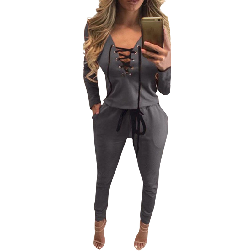 Autumn Women Overalls For Women Brand Bandage Jumper Rompers Jumpsuit Pants Full Sleeve Winter Playsuit Lace