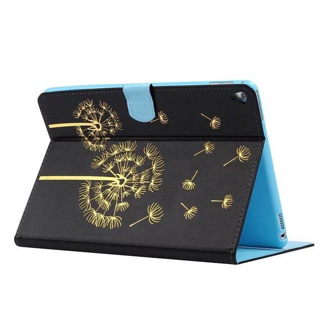 Black dandelion pattern pu Leather flip Case For apple iPad mini2 3 4 ipad2 3 4 Air1 2 pro 9.7case stand cover free shipping