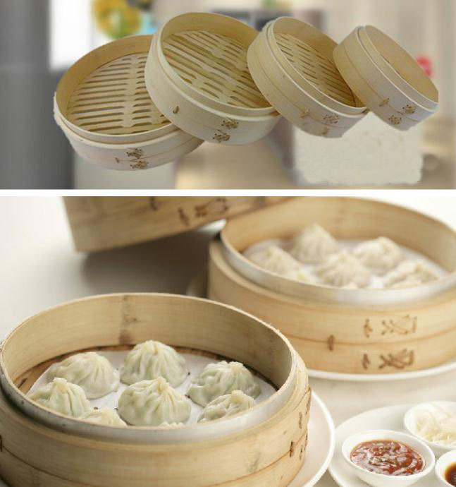 1 PC Natural Bamboo Steamer Dumplings Steamed Buns Handmade Household Restaurant Free Gift