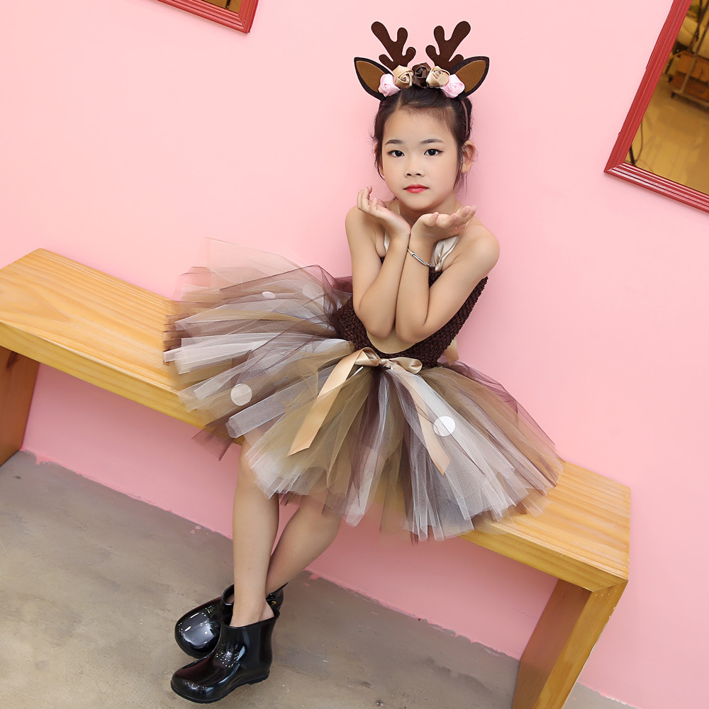Girls Reindeer Dress Up Costumes Children O-neck Pattern Solid Dress Christmas Birthday Party Kids Dresses for Girls Ball Gown (17)