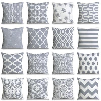 ZENGIA 45*45cm Gray Geometric Cushion Cover Polyester Pillowcase Cojines Striped Decorative Pillows Case Throw Pillows For Sofa