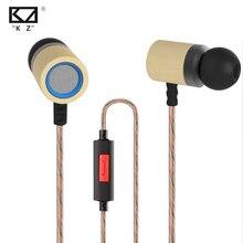 2016 original kz ed7 hi-fi estéreo de alta fidelidad en la oreja los auriculares bajos pesados auriculares para mp4 reproductor de mp3 teléfono de bambú