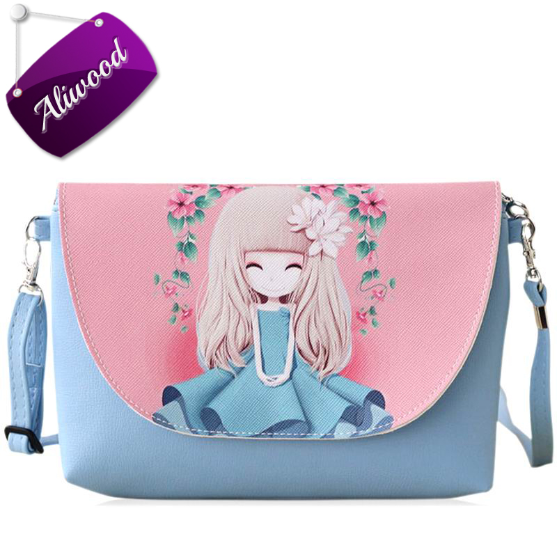 2017 New Cartoon Women bag Printing PU Leather Mini Female Crossbody Shoulder Bags Girls Messenger Bag Sale Purse Bolsa Feminina qweek luxury handbags women bags designer 2017 pu leather shoulder bag female printing bolsa feminina mini flap crossbody bags