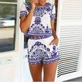 Летняя Мода Дамы Случайные Цветочные Playsuit Выстрелов Рукавом + Шорты Наборы