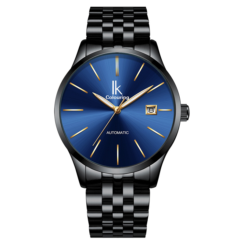 IK Colouring Automatic Self-Wind Mens Watch Auto Date Mechanical Analog Stainless Steel Bracelet Male Business Dress WristwatchIK Colouring Automatic Self-Wind Mens Watch Auto Date Mechanical Analog Stainless Steel Bracelet Male Business Dress Wristwatch