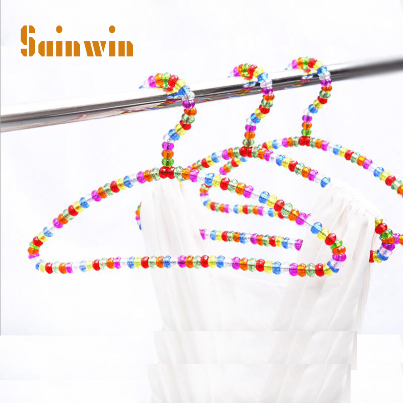 Sainwin 5pcs/lot 38cm Arc-shaped Hangers for Clothes Pearl Plastic Hanger Colorful Crystal Ball Rack Coat hanger