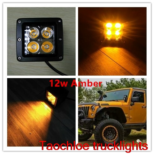 2x Amber 12W High Power Square Car Offroad spot beam LED Light Bar Waterproof SUV daytime