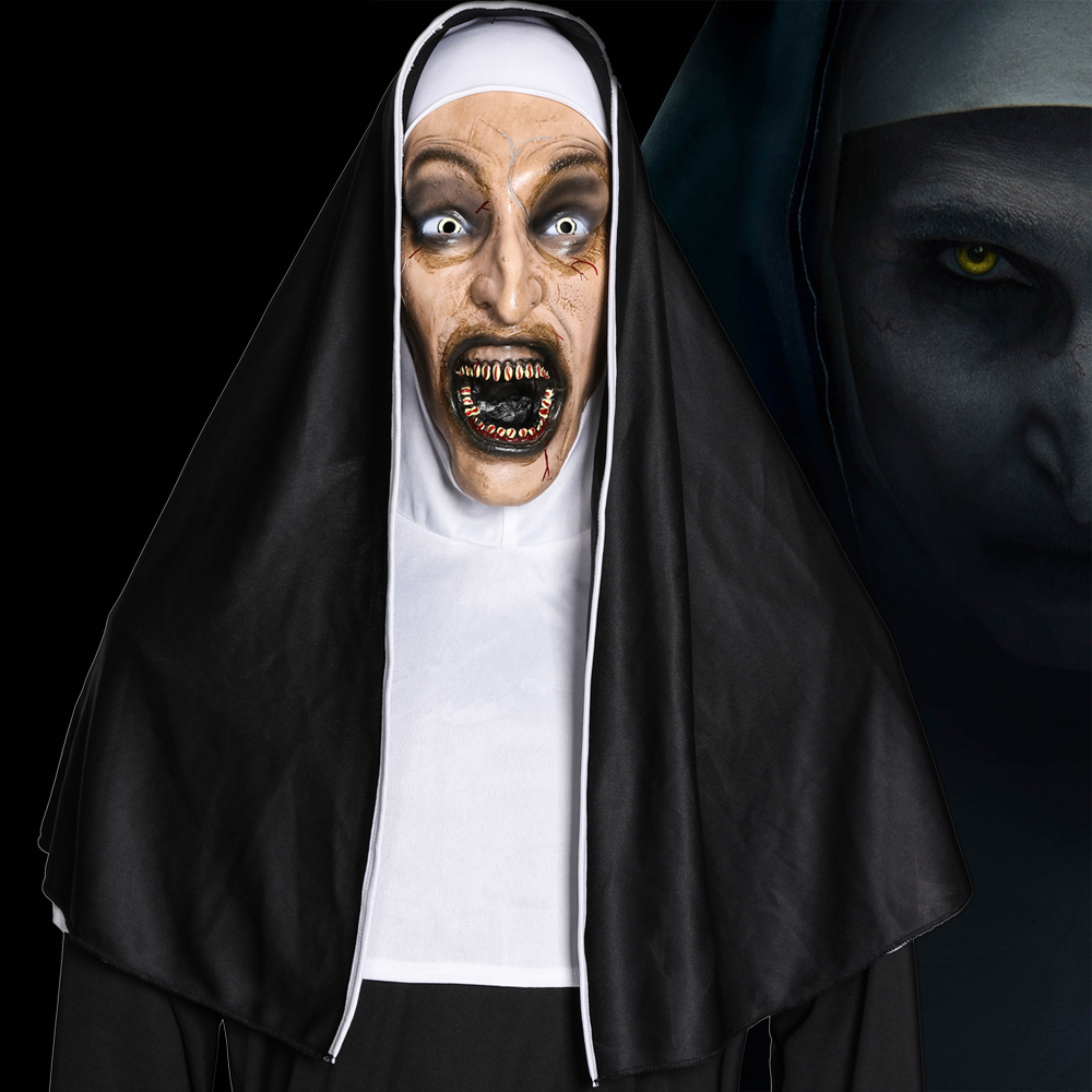 The Nun Horror Mask Cosplay Valak Scary Latex Masks With Headscarf Full Face Helmet Halloween Party Deluxe Props Dropshipping