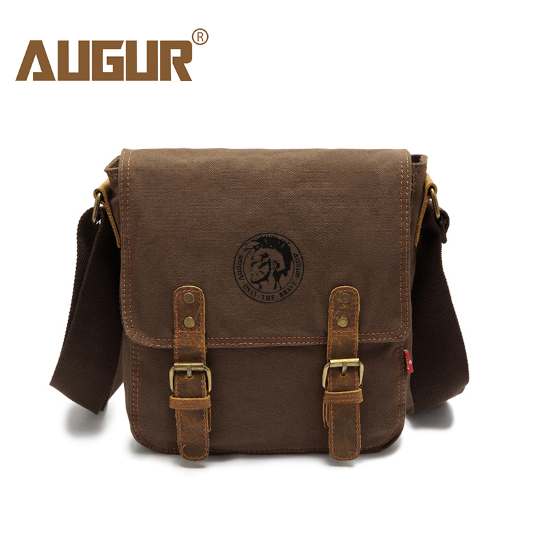 AUGUR Men's Shoulder Bag Vintage Canvas Small Messenger Bag Women Male Crossbody Bag Travel Bag Mochilas augur fashion men s shoulder bag canvas leather belt vintage military male small messenger bag casual travel crossbody bags