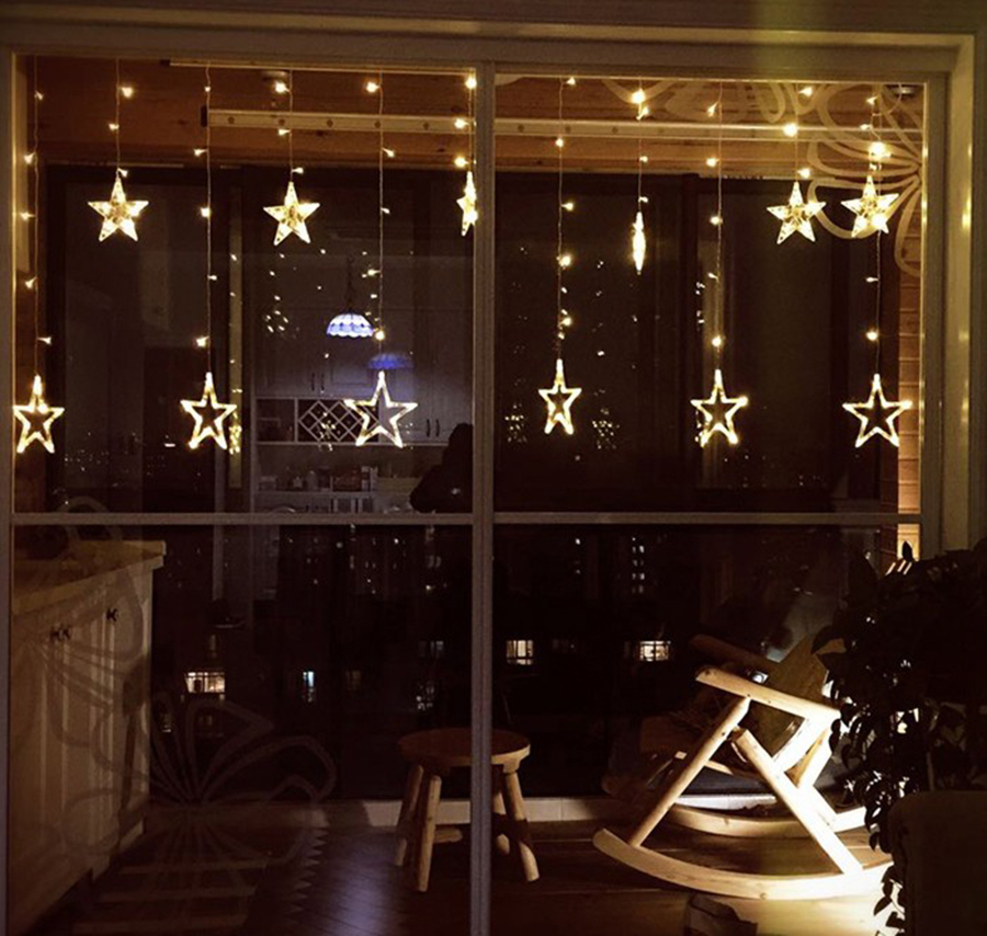 Smart 3.5m 96led Snowflake Led Curtain String Lights Lamp New Year Garden Christmas Wedding Party Ceiling Decoration 220v Quality And Quantity Assured Lights & Lighting