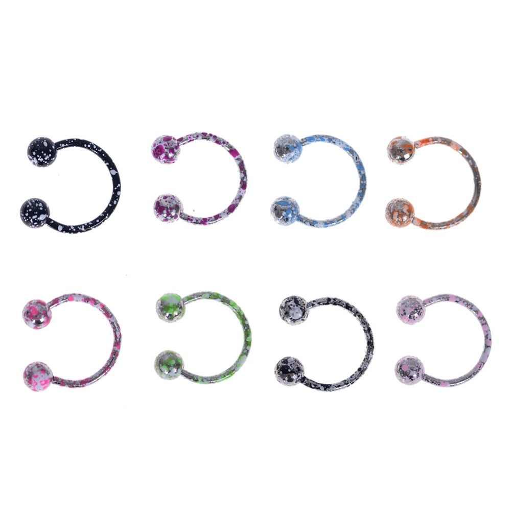 8pcs/Set 16G 18G Nose Septum Ring Lip Nipple Eyebrow Lobe Rings Hoop Horseshoe Ear Piercings Stainless Steel Body Jewelry