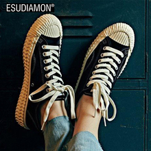 ESUDIAMON New Fashion Canvas Casual Shoes Men Leisure Black Canvas Vulcaniz Shoes Lace-up Low Top Footwears  Zapatos Solid White