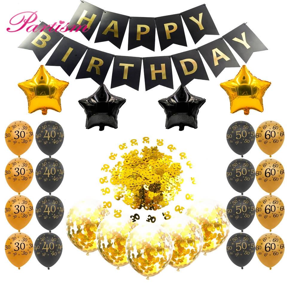Anniversary Party Inflatable Helium Balloon <font><b>Happy</b></font> <font><b>Birthday</b></font> Gold 30 40 <font><b>50</b></font> 60 Confetti Ball Decoration <font><b>Birthday</b></font> Party Supplies image