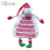 Biwan Lam Kalender 60*36 cm Knuffels Met Zakken Zachte Leuke Educatief Gevulde Kerst Dieren kinderen Verjaardag geschenken