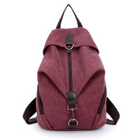 Pretty Style Pure Color Canvas Women Backpack College Student School Book Bag Leisure Backpack Travel Bag