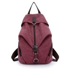 Estilo bastante color puro mujeres de la lona mochila escolar estudiante universitario mochila ocio bolsa de viaje
