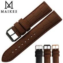 MAIKES Bonne Qualité Silicone bande Hommes 20mm 22mm Noir Boucle en caoutchouc bracelet Bracelet Bracelet Ceinture Pour Sport Montre