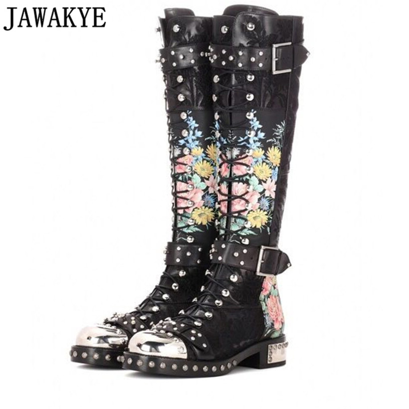 JAWAKYE Rivets cloutés bottes longues en cuir broderie imprimé fleurs moto bottes croix attaché boucle sangle bota feminina