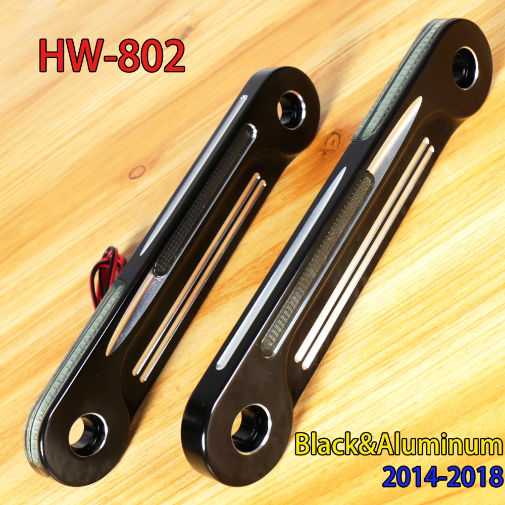 Front Aluminum Shallow Cut LED Flush Fork Turn Signals Brackets For Harley Touring Electra Street Glide