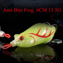 Купить с кэшбэком Fishing Bait Frog Anti Bite 6cm 13.5g Fishing Lures 3D Eyes Bait Crankbait Wobblers Isca Poper Pesca Japan fishing tackle