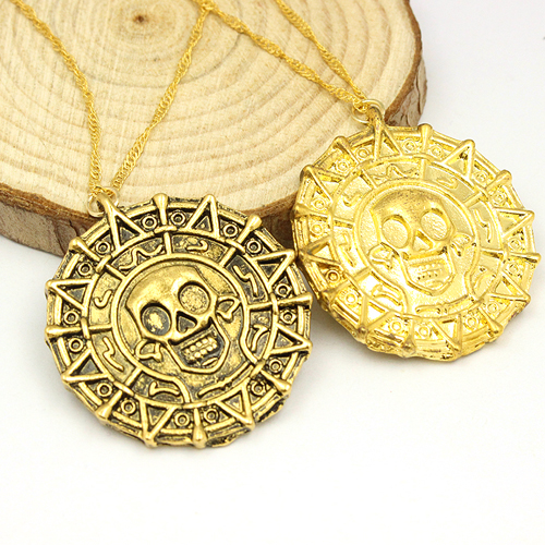 Fashion Jewelry Vintage Charm Alloy Aztec Coin Pendant Necklace Pirates of the Caribbean