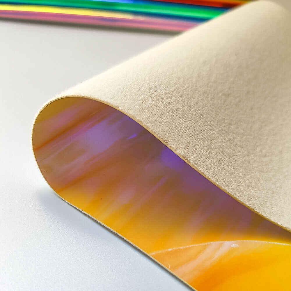 Schillernden Holographische Regenbogen PU Faux Leder Stoff Laser Haar Bögen Ohrring, Der DIY Material Dicke 0,9mm