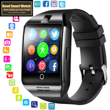 цены на 2019 Bluetooth Smart Watch Men Q18 with Camera Facebook Whatsapp Twitter Sync SMS Smartwatch Support SIM TF Card for IOS Android  в интернет-магазинах