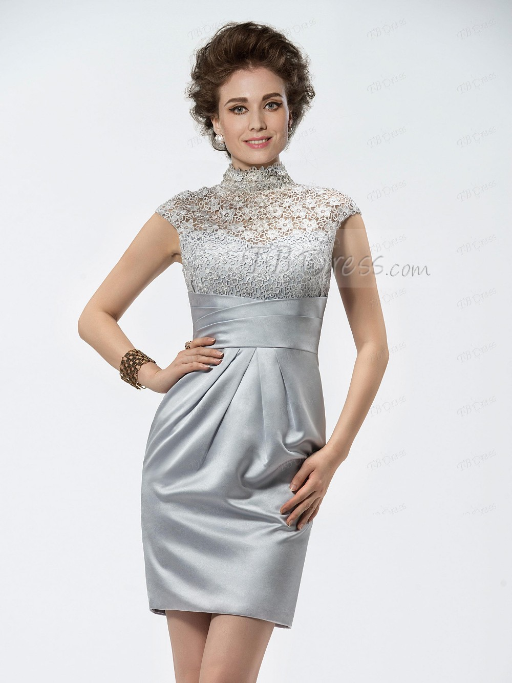 Silver cocktail dresses with sleeves for women