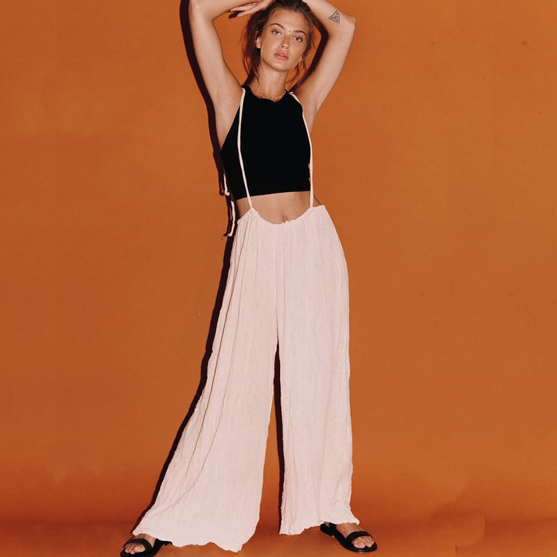 Women Jumpsuits Retro Solid Color Wide Leg Pants Strap Sling Jumpsuit Summer Loose Female Comfortable Party Clothing F4 in Jumpsuits from Women 39 s Clothing