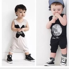 2018 Hot selling Summer Baby Boy Girl Romper Sleeveless Letter TO THE MOON Toddler Jumpsuit Newborn Baby Blothes(China)