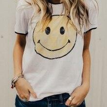 874373cf FAIRY SEASON 2018 Women Smile Print Splicing Short Sleeve T-Shirt Summer  O-Neck