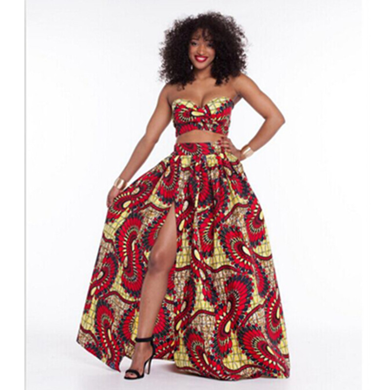traditional dashiki african print dresses 2 pieces midriff