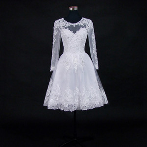 Image 2 - Vestido דה Noiva 2021 קצר שמלת או 2 em 1 חתונת שמלה ארוך שרוולים תחרה אשליה כלה שמלות