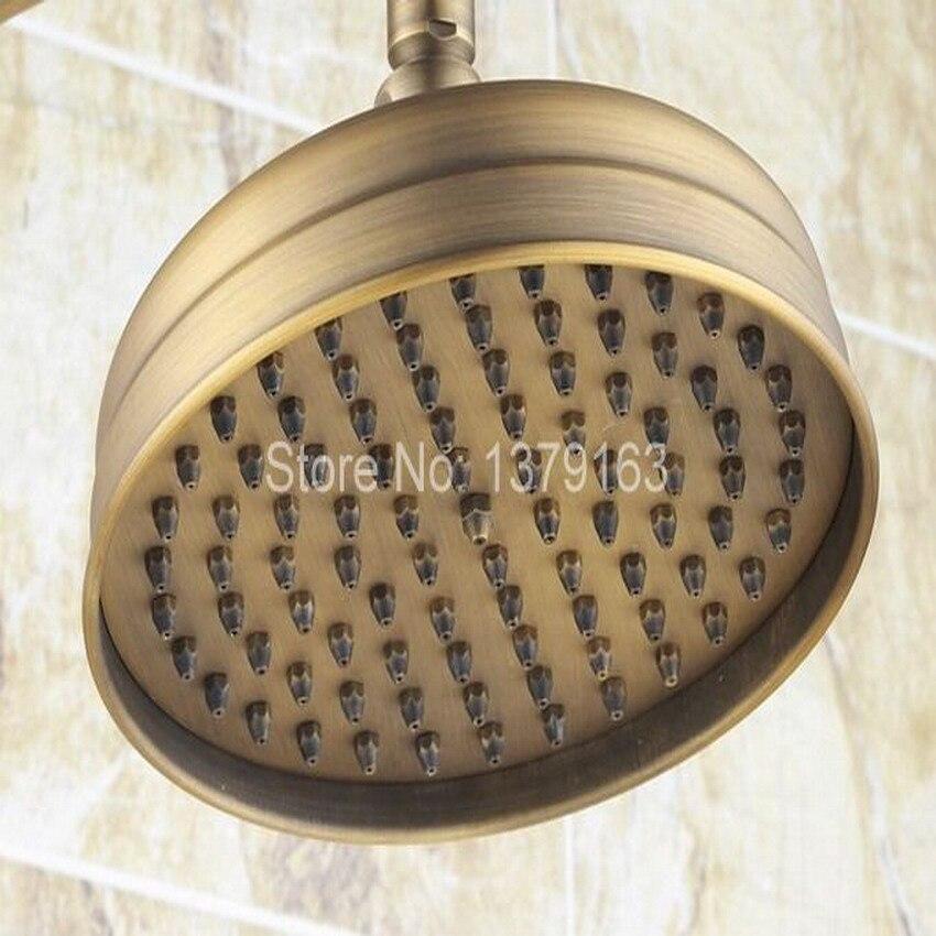 Antique Brass Two Ceramic Handle Bathroom Rain Shower Faucet Set Tub ...