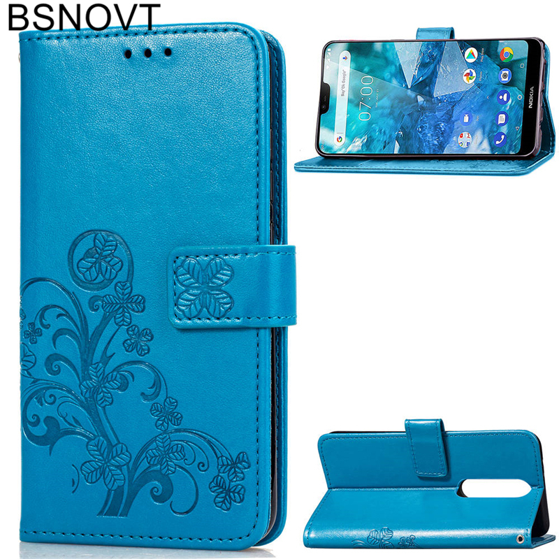 For Nokia 7.1 Case Silicone PU Leather Wallet Anti-knock Phone 8.1 / X7 Bag BSNOVT