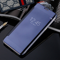 Virar luxo couro pu caso espelho para iphone 7 7 plus 6 6 s 5 5S se luxo rígido pc claro tampa articulada para iphone 7 coque