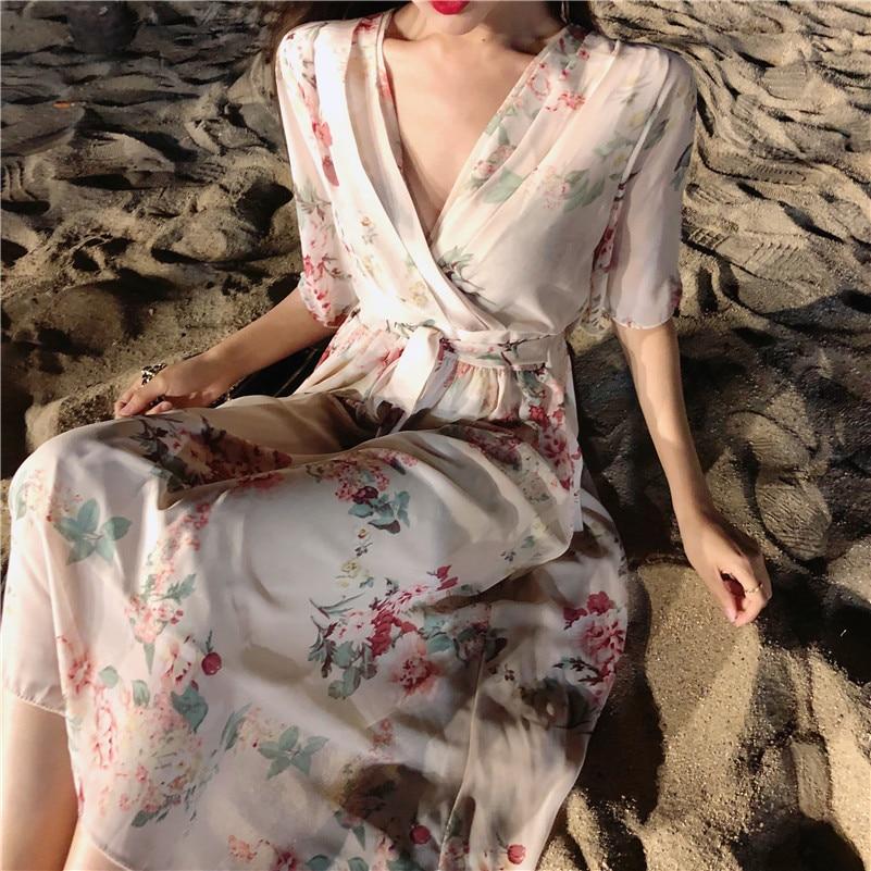 Real shot 2018 new fairy V neck belt flower chiffon dress Beach party dress Fairy must ~ Vestido Sundress