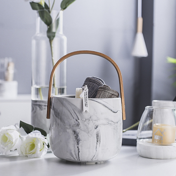 Cearamic marble storage with wood handle flower vase home decor ice cooler