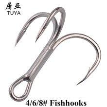 50pcs/Set Super Sharp Barbed Hook Treble Fishing Hooks 4/6/8# High Carbon Steel 82MN Treble Hooks Fishing Tackle Fishhooks