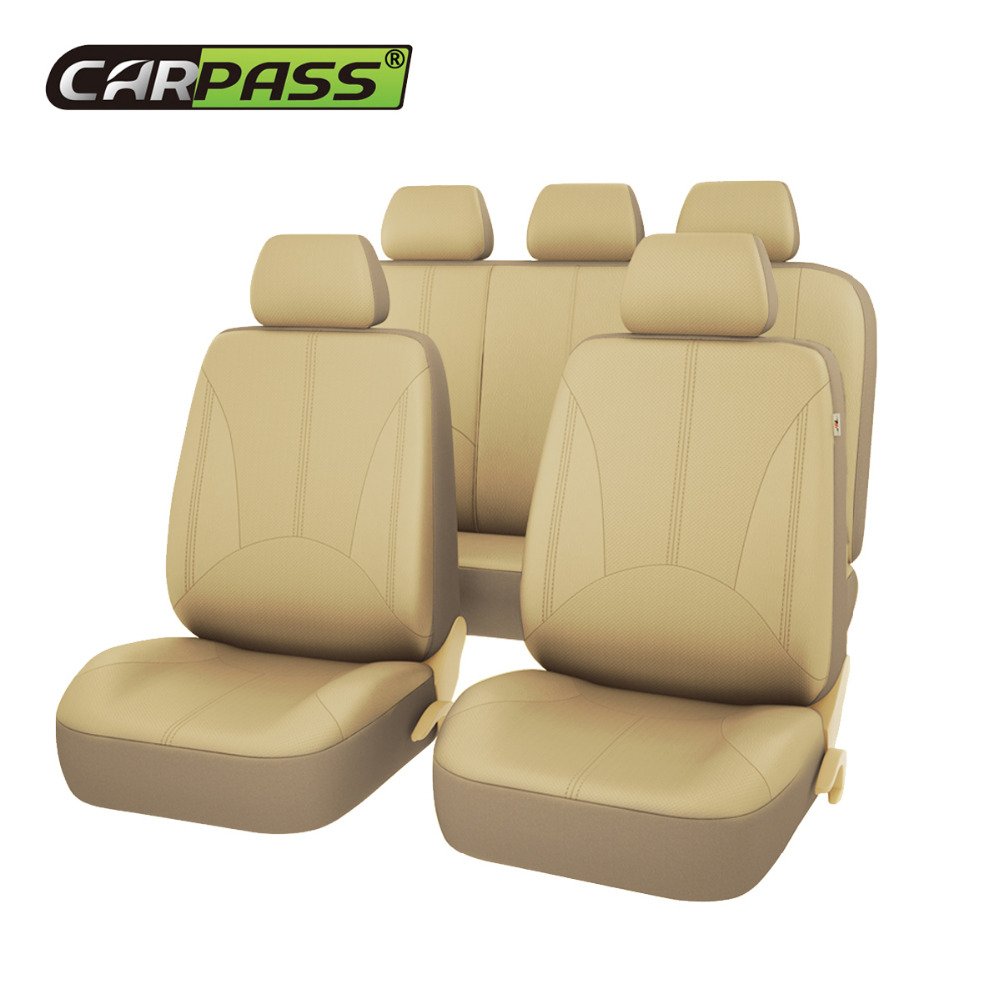 Car-pass 3 Color New Luxury PU Leather Auto Universal Car Seat Covers Automotive Seat Covers Protector Interior Accessories linen universal car seat cover for dacia sandero duster logan car seat cushion interior accessories automobiles seat covers