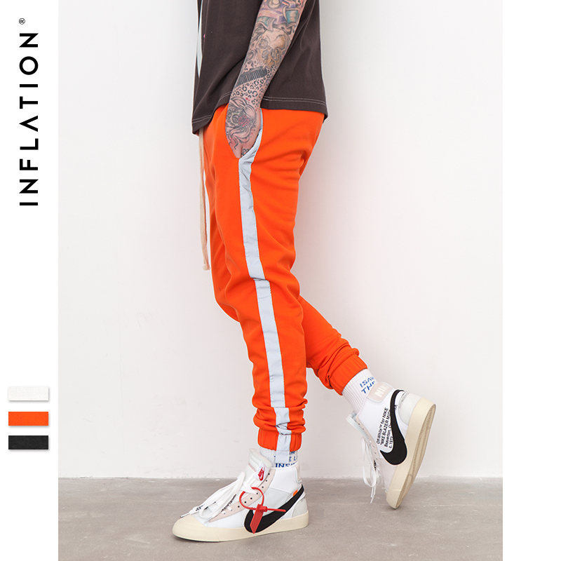 INFLATION Striped Reflective Pant Mens 2019 Hip Hop Casual Joggers Sweatpants Trousers Male Street Fashion Mens Trousers 8407S 건달 조폭 옷