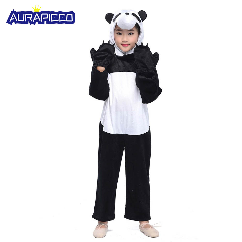 Animal Cosplay Jumpsuit Child Panda Costume Kids Animal Onesies Little Panda Fancy Dress Fleece Toddlers Size Children's Day